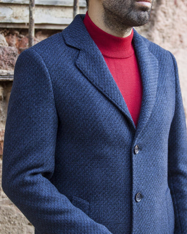 Slim Fit Navy & Blue Wool Coat