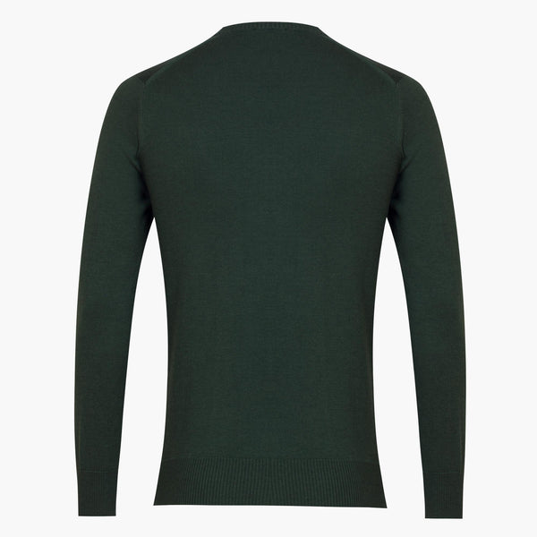 Green Slim Fit Cotton V-Neck Sweater