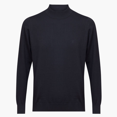 Black Regular Fit Woolen Light Mock Neck Sweater