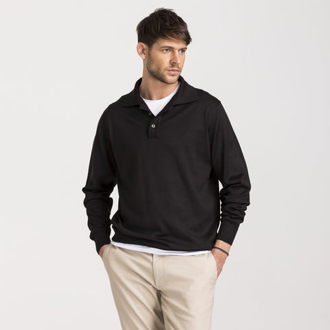 Black Regular Fit Woolen Polo Sweater
