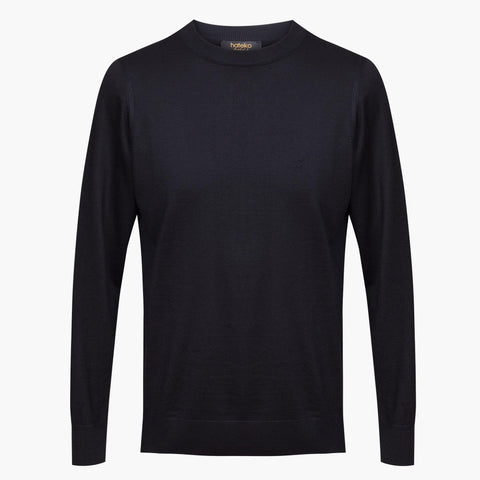 Black Regular Fit Woolen Crewneck Sweater