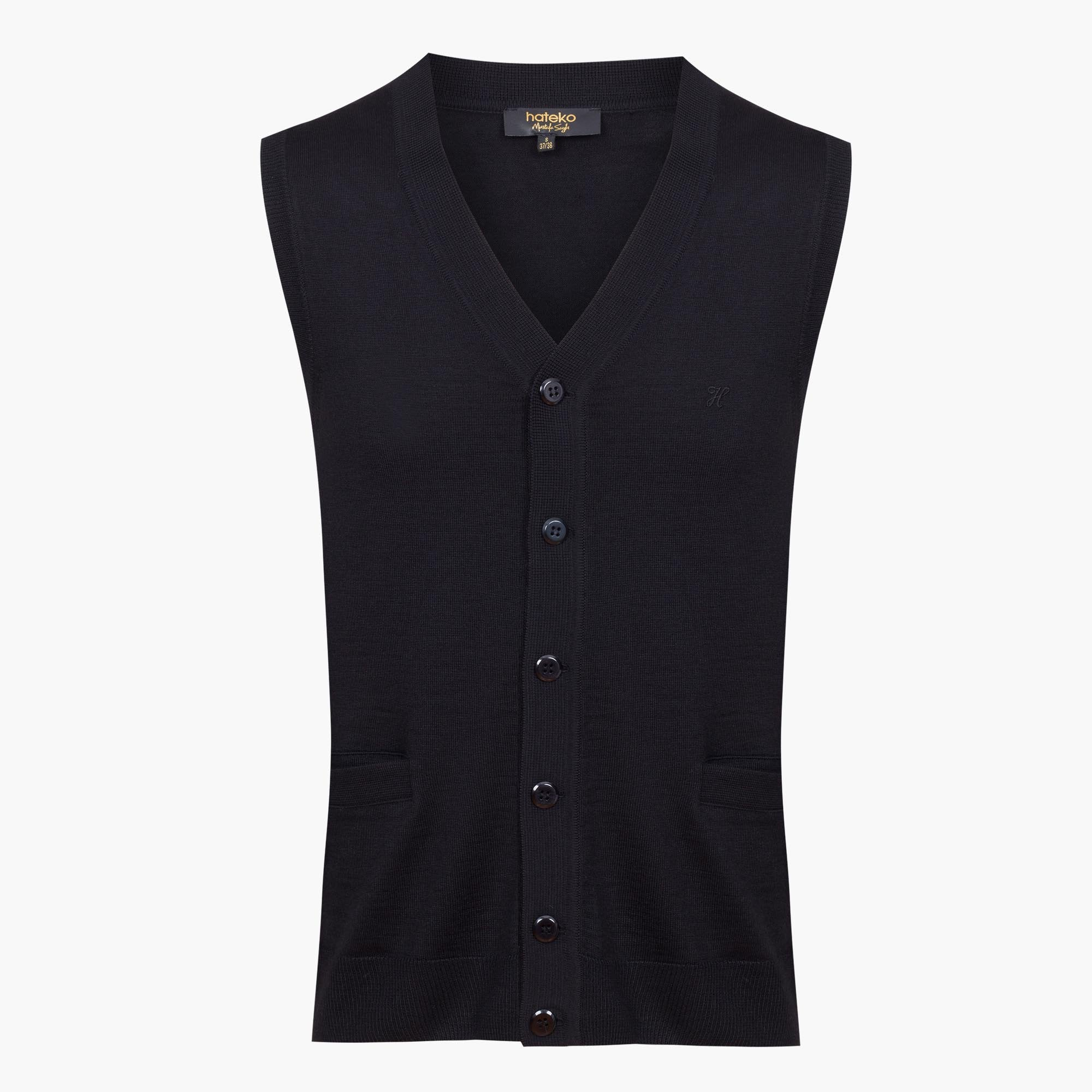 Black Regular Fit Woolen Vest