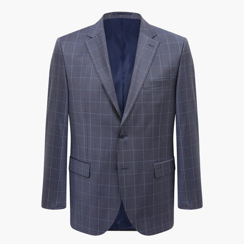 Altınyıldız Regular Short Fit Blue Plaid %88 Wool Blazer