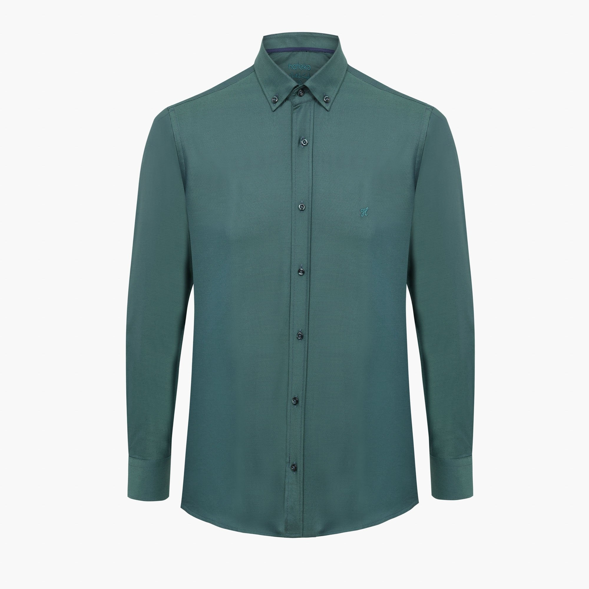 Green %100 Cotton Oxford Shirt