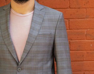 %88 Wool Altınyıldız Slim Fit Grey Glen Plaid Blazer