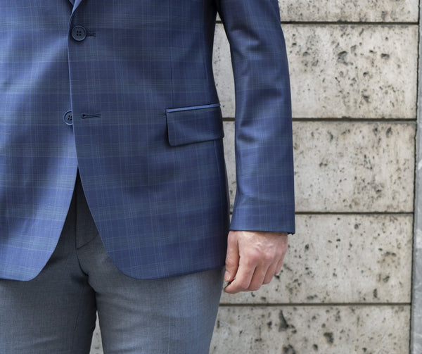 %88 Wool Altınyıldız Slim Fit Blue Glen Plaid Blazer