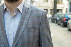 %88 Wool Altınyıldız Slim Fit Milky Coffee Glen Plaid Blazer