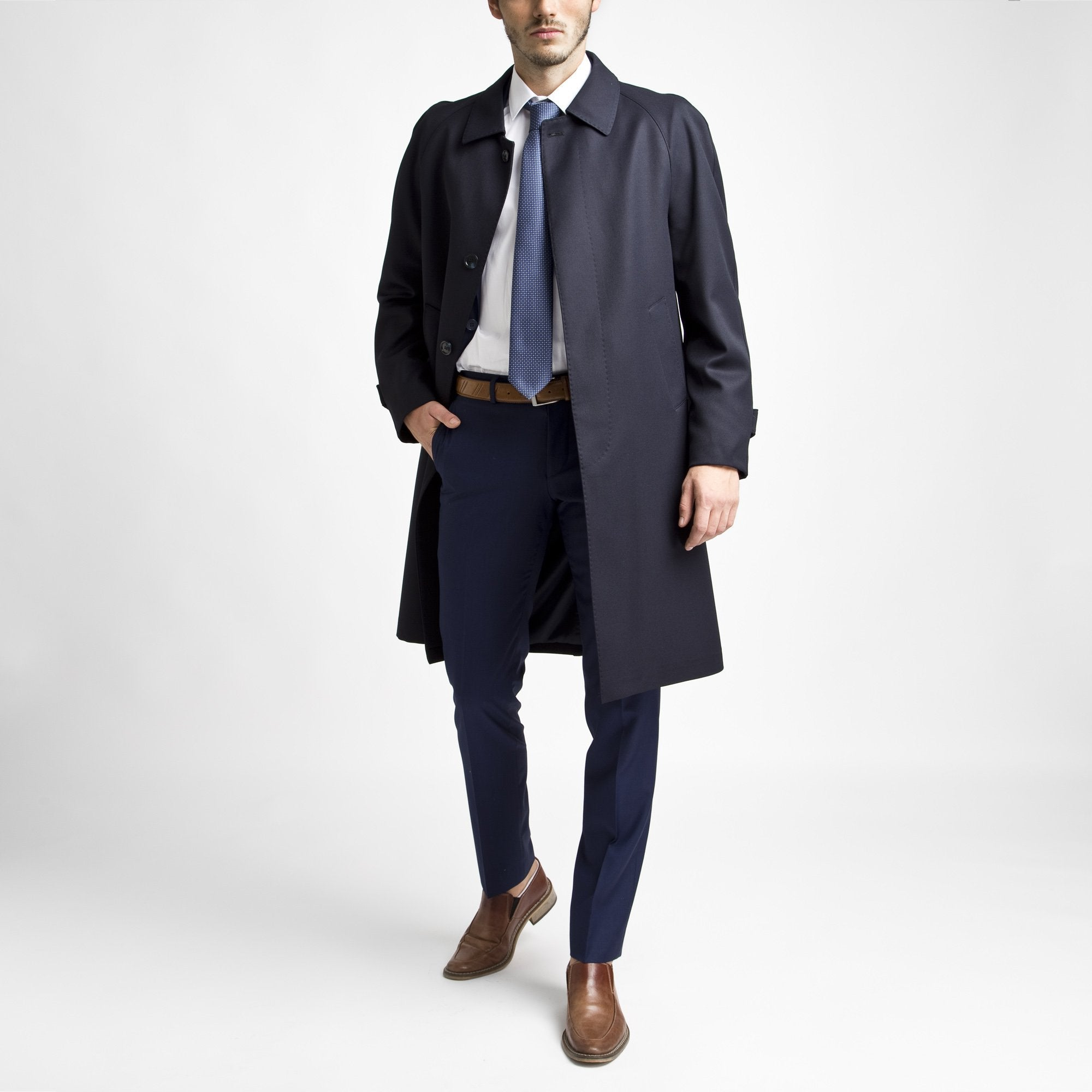 Classic Large Fit Navy %50 Wool Overcoat