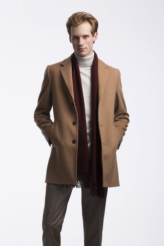 Slim Fit Camel Wool Coat