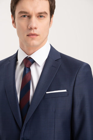 88% Wool Altınyıldız Slim Fit Blue Glen Plaid Suit