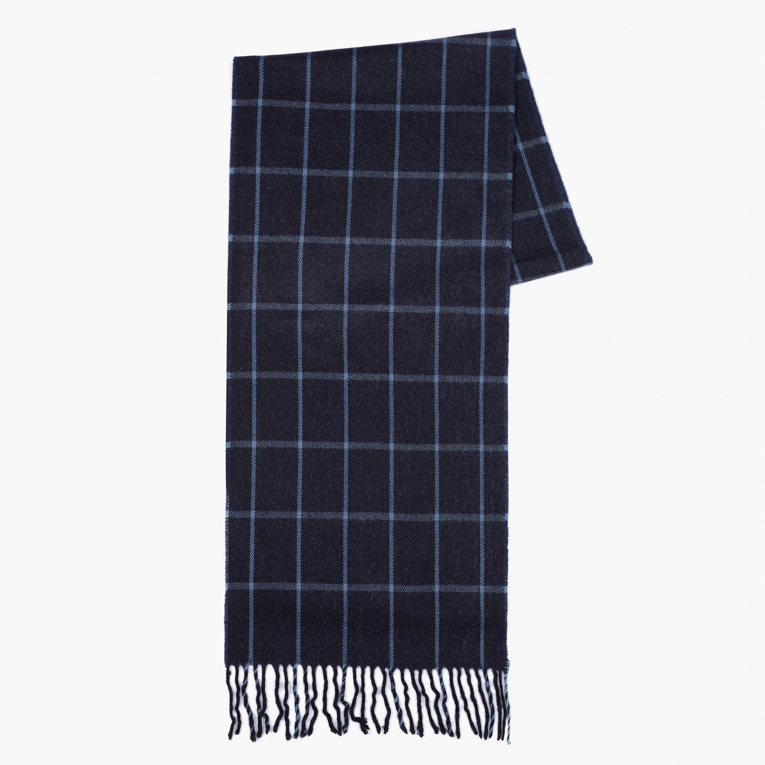 Checked Herringbone Textured Navy Scarf