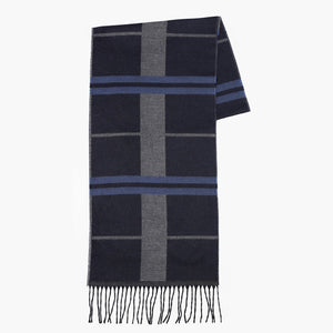 Checked Kalın Çizgi Patterned Foulard - Navy