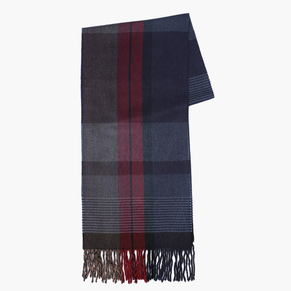 Striped Patterned Blue Textured Scarf
