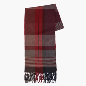 Striped Patterned Red Textured Scarf