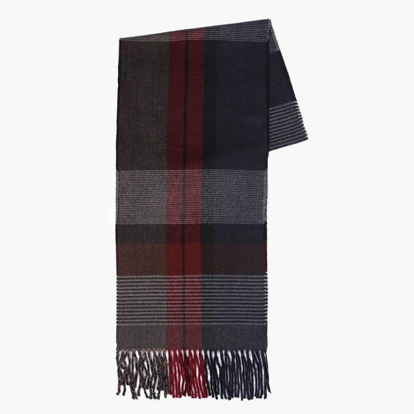 Striped Patterned Navy Textured Scarf