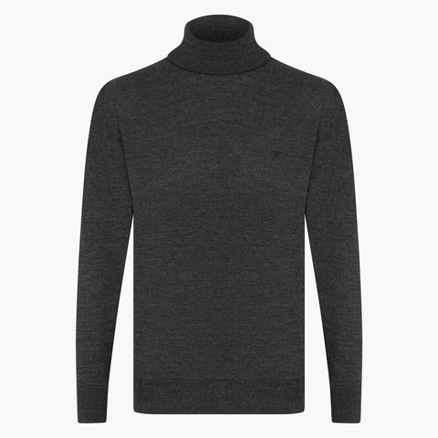 Anthracite Regular Fit Woolen Turtleneck Sweater