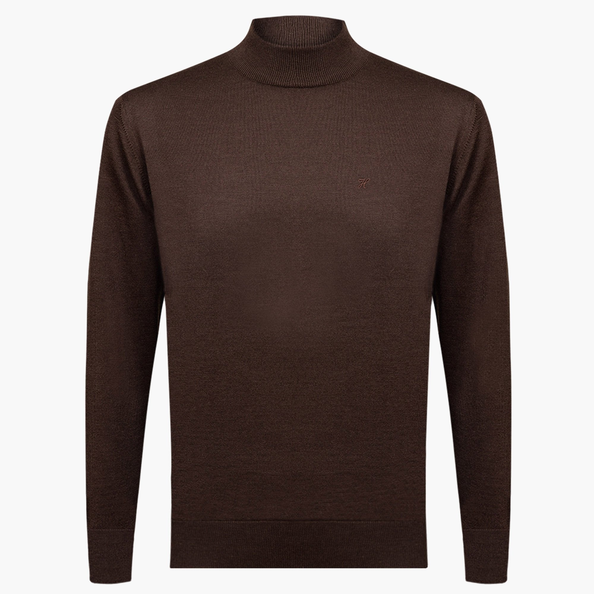 Brown Regular Fit Woolen Light Mock Neck Sweater