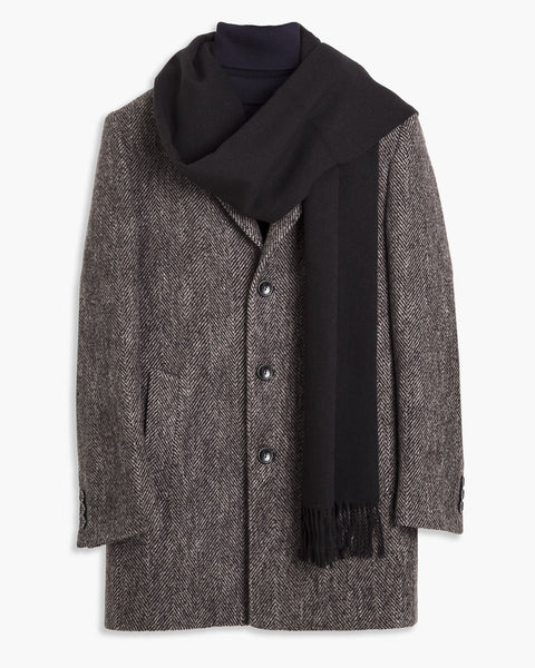 Plain Black Textured Scarf