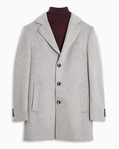 Slim Fit Ice Grey Wool Coat