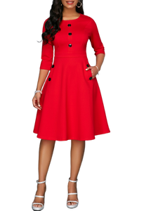 Red A line Flare Dress