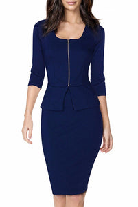 Zipper Front Peplum Dress