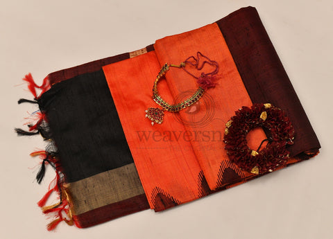 Black and Orange Raw Silk