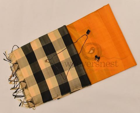 Orange and Black checked pallu Soft Silk