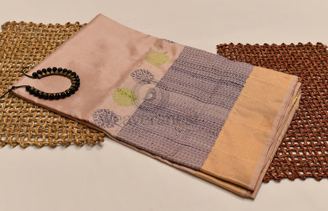 Elegant pure raw silk saree with thread work