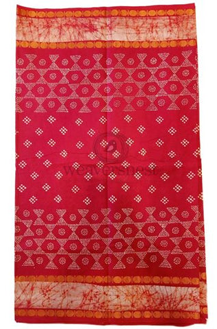 Candy Red Printed Cotton Saree