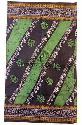 Black-Green Printed Cotton Saree