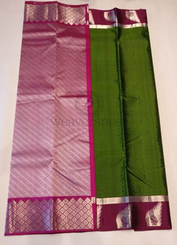 Dark olive green soft silk saree