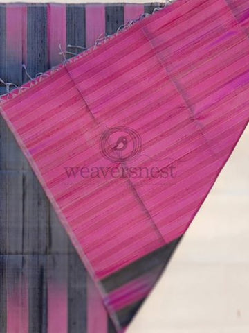 Dark grey raw silk saree with pink pallu