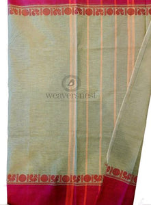Silver grey chettinad cotton saree