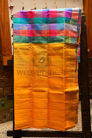 Raw silk saree with big check pallu