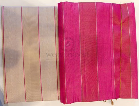 Cream raw silk saree with hot pink distinct border
