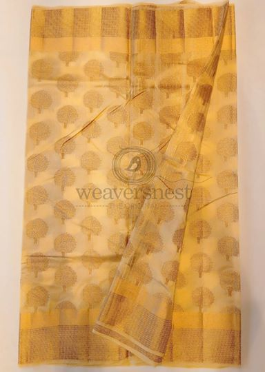 Yellow kota muslin saree with zari work