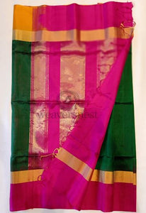 Bottle Green Soft Silk Saree with Hot pink Border