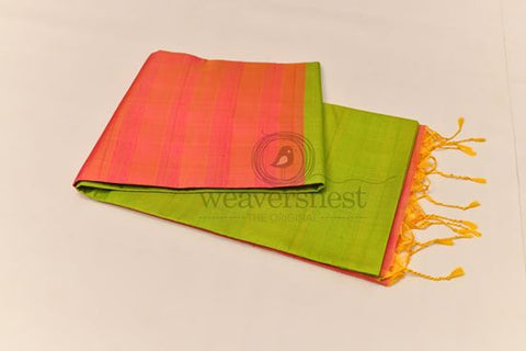 Parrot green raw silk saree with bright orange pallu