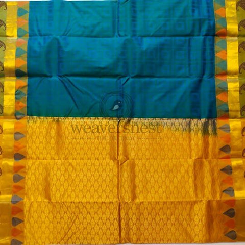 Peacock blue pure silk saree with fire yellow border and pallu