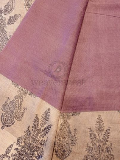 Salmon pink linen cotton saree