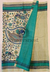 Ocean blue Printed Linen Saree