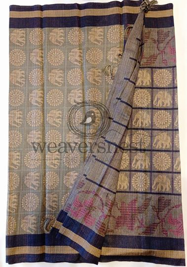 Grey Jute Cotton Saree