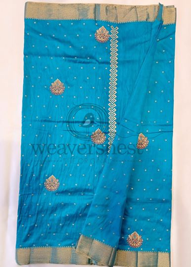 Blue Kota Cotton Saree with Embroidery