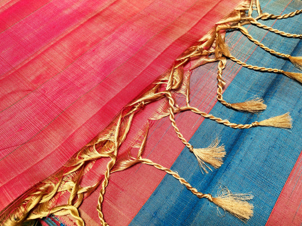 Red-blue Raw silk saree