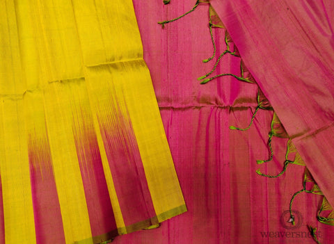 Rose-yellow Raw silk saree