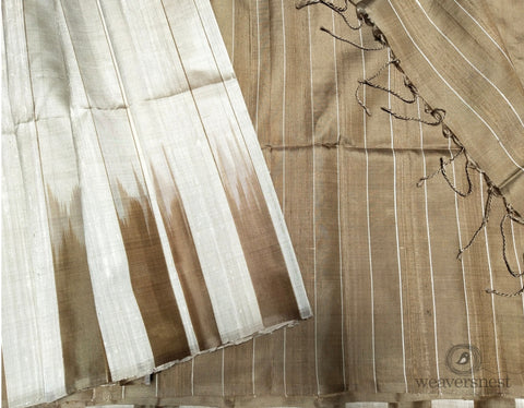 Gold-white raw silk saree