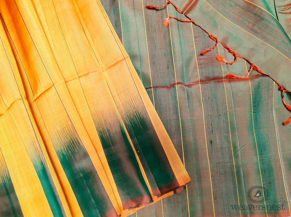 Yellow-green Raw silk saree