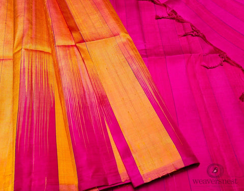 Hot pink-orange Raw silk saree