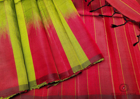Parrot green-red Raw silk saree