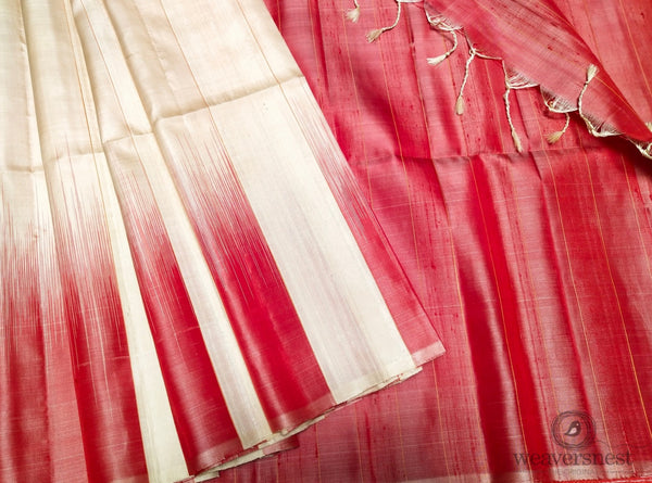 White-red Raw silk saree